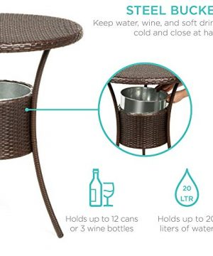 Best Choice Products 5 Piece Outdoor Wicker Bar Table Bistro Set Dining Furniture For Patio Backyard WBuilt In Ice Bucket 4 Chairs Brown 0 0 300x360