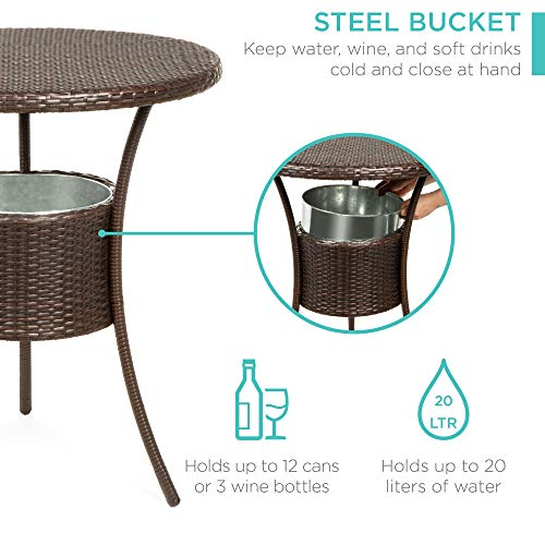 Best Choice Products 5 Piece Outdoor Wicker Bar Table Bistro Set Dining Furniture For Patio Backyard WBuilt In Ice Bucket 4 Chairs Brown 0 0