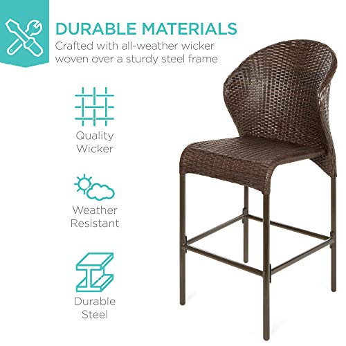 Best Choice Products 5 Piece Outdoor Wicker Bar Table Bistro Set Dining Furniture For Patio Backyard WBuilt In Ice Bucket 4 Chairs Brown 0 1
