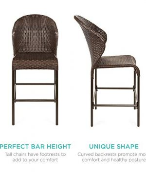 Best Choice Products 5 Piece Outdoor Wicker Bar Table Bistro Set Dining Furniture For Patio Backyard WBuilt In Ice Bucket 4 Chairs Brown 0 2 300x360