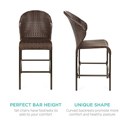 Best Choice Products 5 Piece Outdoor Wicker Bar Table Bistro Set Dining Furniture For Patio Backyard WBuilt In Ice Bucket 4 Chairs Brown 0 2