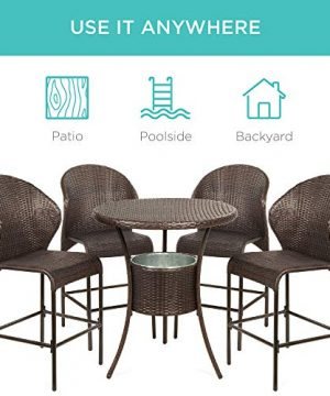 Best Choice Products 5 Piece Outdoor Wicker Bar Table Bistro Set Dining Furniture For Patio Backyard WBuilt In Ice Bucket 4 Chairs Brown 0 3 300x360