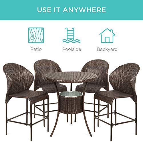 Best Choice Products 5 Piece Outdoor Wicker Bar Table Bistro Set Dining Furniture For Patio Backyard WBuilt In Ice Bucket 4 Chairs Brown 0 3