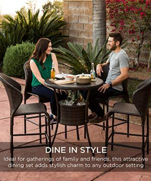 Best Choice Products 5 Piece Outdoor Wicker Bar Table Bistro Set Dining Furniture For Patio Backyard WBuilt In Ice Bucket 4 Chairs Brown 0 4 300x360