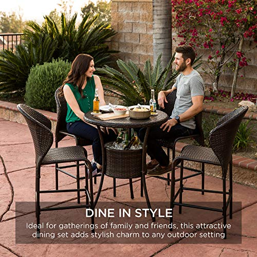 Best Choice Products 5 Piece Outdoor Wicker Bar Table Bistro Set Dining Furniture For Patio Backyard WBuilt In Ice Bucket 4 Chairs Brown 0 4