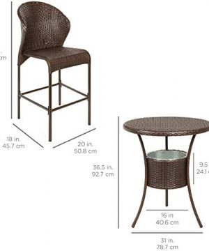 Best Choice Products 5 Piece Outdoor Wicker Bar Table Bistro Set Dining Furniture For Patio Backyard WBuilt In Ice Bucket 4 Chairs Brown 0 5 300x360