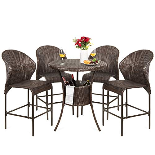 Best Choice Products 5 Piece Outdoor Wicker Bar Table Bistro Set Dining Furniture For Patio Backyard WBuilt In Ice Bucket 4 Chairs Brown 0