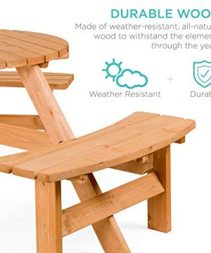 Best Choice Products 6 Person Circular Outdoor Wooden Picnic Table For Patio Backyard Garden DIY W 3 Built In Benches Umbrella Hole Natural 0 0 300x360
