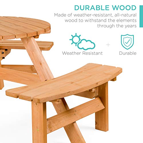 Best Choice Products 6 Person Circular Outdoor Wooden Picnic Table For Patio Backyard Garden DIY W 3 Built In Benches Umbrella Hole Natural 0 0
