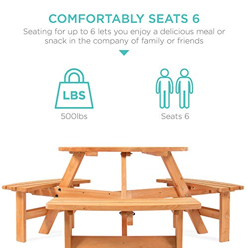 Best Choice Products 6 Person Circular Outdoor Wooden Picnic Table For Patio Backyard Garden DIY W 3 Built In Benches Umbrella Hole Natural 0 1
