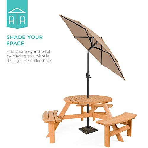 Best Choice Products 6 Person Circular Outdoor Wooden Picnic Table For Patio Backyard Garden DIY W 3 Built In Benches Umbrella Hole Natural 0 2