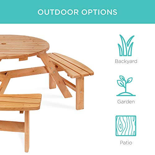 Best Choice Products 6 Person Circular Outdoor Wooden Picnic Table For Patio Backyard Garden DIY W 3 Built In Benches Umbrella Hole Natural 0 3