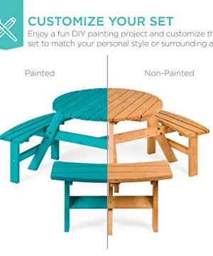 Best Choice Products 6 Person Circular Outdoor Wooden Picnic Table For Patio Backyard Garden DIY W 3 Built In Benches Umbrella Hole Natural 0 4 300x360