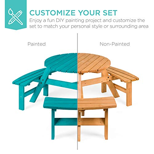 Best Choice Products 6 Person Circular Outdoor Wooden Picnic Table For Patio Backyard Garden DIY W 3 Built In Benches Umbrella Hole Natural 0 4