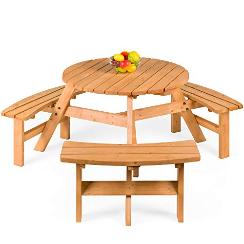 Best Choice Products 6 Person Circular Outdoor Wooden Picnic Table For Patio Backyard Garden DIY W 3 Built In Benches Umbrella Hole Natural 0
