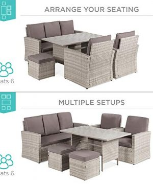 Best Choice Products 7 Seater Conversation Wicker Sofa Dining Table Outdoor Patio Furniture Set WModular 6 Pieces Cushions Protective Cover Included GrayGray 0 0 300x360