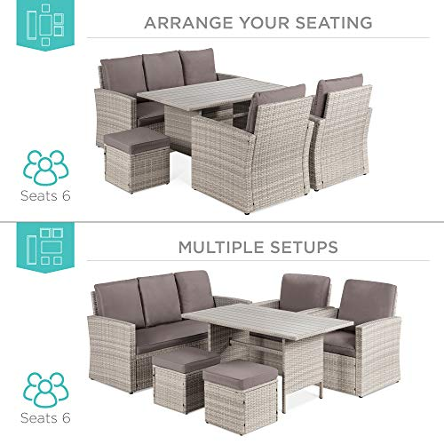 Best Choice Products 7 Seater Conversation Wicker Sofa Dining Table Outdoor Patio Furniture Set WModular 6 Pieces Cushions Protective Cover Included GrayGray 0 0