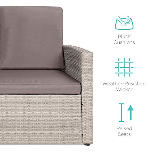 Best Choice Products 7 Seater Conversation Wicker Sofa Dining Table Outdoor Patio Furniture Set WModular 6 Pieces Cushions Protective Cover Included GrayGray 0 4