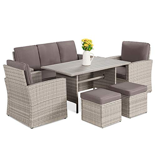 Best Choice Products 7 Seater Conversation Wicker Sofa Dining Table Outdoor Patio Furniture Set WModular 6 Pieces Cushions Protective Cover Included GrayGray 0