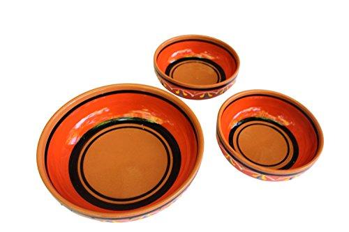 Canyon Cactus Ceramics Spanish Terracotta Set Of 3 Small Dipping Bowls Orange 0