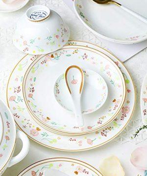 Ceramics Dinner Sets 54 Pieces Farmhouse Style Dinnerware Set With Soup Pot Floral Pattern Cereal Bowl And Steak Plate Set For Family Gathering 0 0 300x360