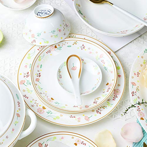 Ceramics Dinner Sets 54 Pieces Farmhouse Style Dinnerware Set With Soup Pot Floral Pattern Cereal Bowl And Steak Plate Set For Family Gathering 0 0