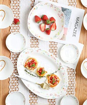 Ceramics Dinner Sets 54 Pieces Farmhouse Style Dinnerware Set With Soup Pot Floral Pattern Cereal Bowl And Steak Plate Set For Family Gathering 0 1 300x360