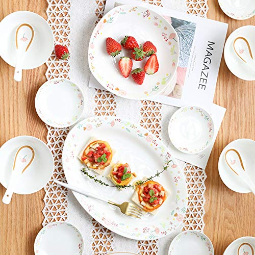 Ceramics Dinner Sets 54 Pieces Farmhouse Style Dinnerware Set With Soup Pot Floral Pattern Cereal Bowl And Steak Plate Set For Family Gathering 0 1