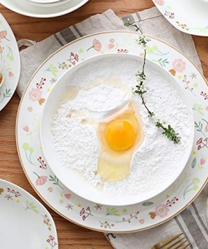 Ceramics Dinner Sets 54 Pieces Farmhouse Style Dinnerware Set With Soup Pot Floral Pattern Cereal Bowl And Steak Plate Set For Family Gathering 0 2 300x360