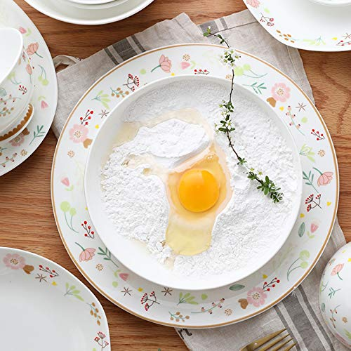 Ceramics Dinner Sets 54 Pieces Farmhouse Style Dinnerware Set With Soup Pot Floral Pattern Cereal Bowl And Steak Plate Set For Family Gathering 0 2