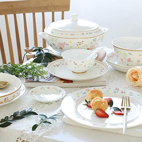 Ceramics Dinner Sets 54 Pieces Farmhouse Style Dinnerware Set With Soup Pot Floral Pattern Cereal Bowl And Steak Plate Set For Family Gathering 0 3
