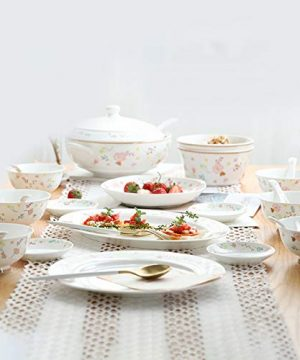Ceramics Dinner Sets 54 Pieces Farmhouse Style Dinnerware Set With Soup Pot Floral Pattern Cereal Bowl And Steak Plate Set For Family Gathering 0 4 300x360