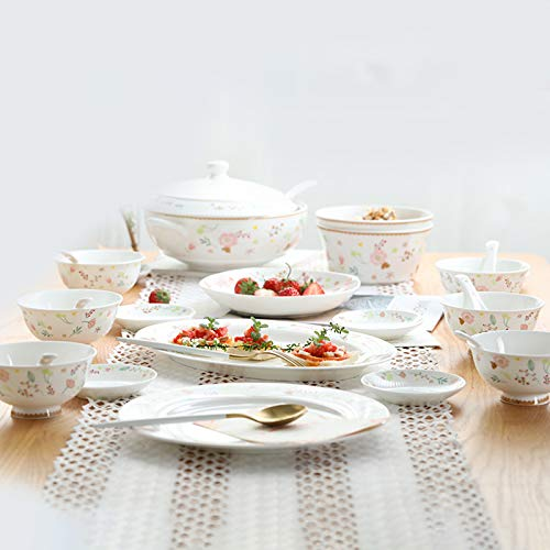 Ceramics Dinner Sets 54 Pieces Farmhouse Style Dinnerware Set With Soup Pot Floral Pattern Cereal Bowl And Steak Plate Set For Family Gathering 0 4