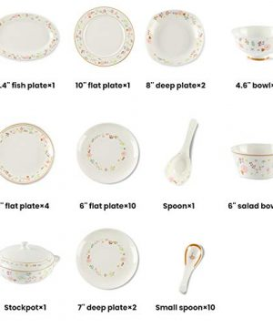 Ceramics Dinner Sets 54 Pieces Farmhouse Style Dinnerware Set With Soup Pot Floral Pattern Cereal Bowl And Steak Plate Set For Family Gathering 0 5 300x360