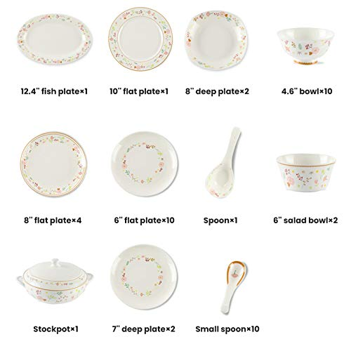 Ceramics Dinner Sets 54 Pieces Farmhouse Style Dinnerware Set With Soup Pot Floral Pattern Cereal Bowl And Steak Plate Set For Family Gathering 0 5