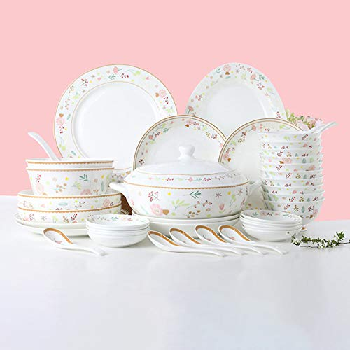 Ceramics Dinner Sets 54 Pieces Farmhouse Style Dinnerware Set With Soup Pot Floral Pattern Cereal Bowl And Steak Plate Set For Family Gathering 0