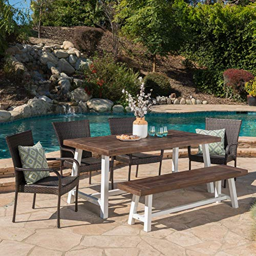 Christopher Knight Home 303913 Cooper Cecilia Outdoor 6 Piece Stacking Wicker Dining Set Finish Acacia Wood Table And Bench 6 Pcs Sandblast Dark BrownWhite Rustic MetalMultibrown 0