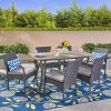 Christopher Knight Home 305125 Rene Outdoor 7 Piece Wood And Wicker Dining Set Gray FinishGray 0 100x100