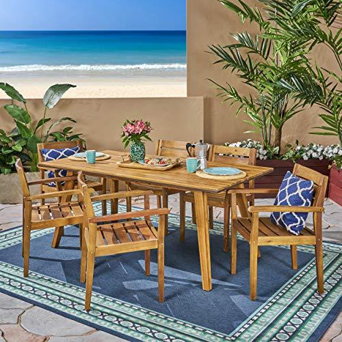 Christopher Knight Home 306255 Renee Outdoor 7 Piece Acacia Wood Dining Set Teak FinishRustic MetalDark Brown 0 0