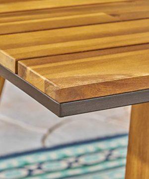 Christopher Knight Home 306255 Renee Outdoor 7 Piece Acacia Wood Dining Set Teak FinishRustic MetalDark Brown 0 3 300x360