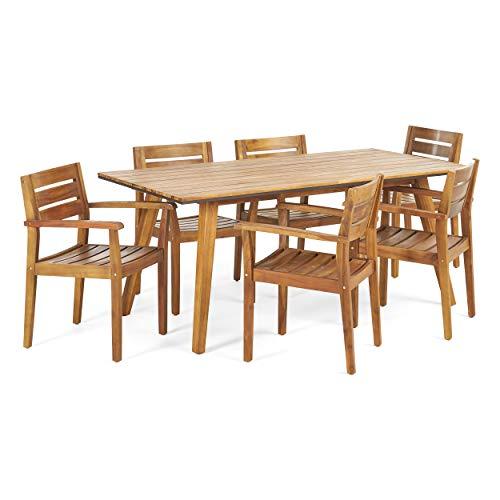 Christopher Knight Home 306255 Renee Outdoor 7 Piece Acacia Wood Dining Set Teak FinishRustic MetalDark Brown 0