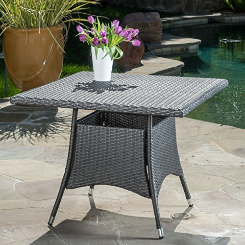 Christopher Knight Home Cabela 5 Piece Wicker Outdoor Dining Set With Cushions Perfect For Patio In Grey 0 0