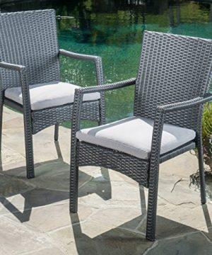 Christopher Knight Home Cabela 5 Piece Wicker Outdoor Dining Set With Cushions Perfect For Patio In Grey 0 1 300x360