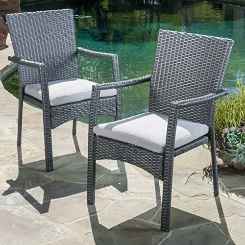 Christopher Knight Home Cabela 5 Piece Wicker Outdoor Dining Set With Cushions Perfect For Patio In Grey 0 1