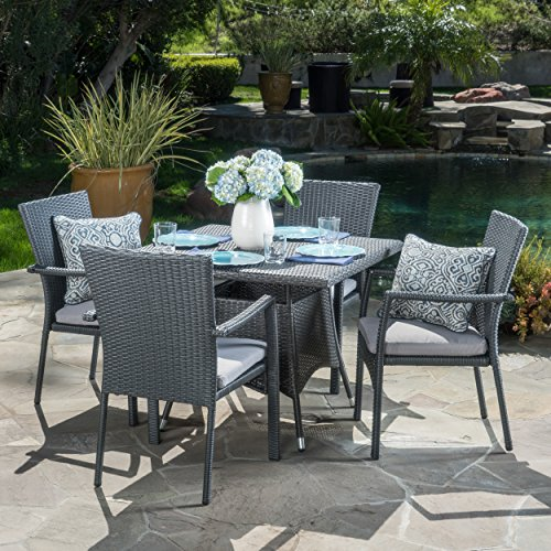 Christopher Knight Home Cabela 5 Piece Wicker Outdoor Dining Set With Cushions Perfect For Patio In Grey 0