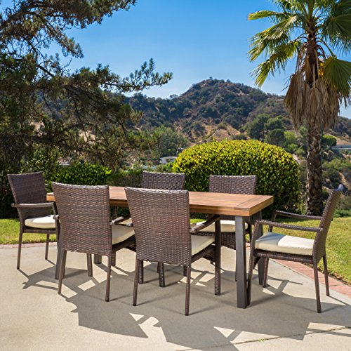 Christopher Knight Home Castlelake 7 Piece Outdoor Dining Set With Cushions Perfect For Patio In Brown 0