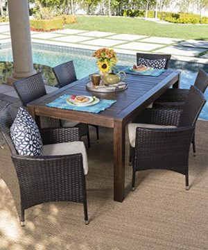 Christopher Knight Home Christine Outdoor Dining Set With Wood Table And Wicker Dining Chairs With Water Resistant Cushions 7 Pcs Set Dark Brown Multibrown Beige 0 0 300x360