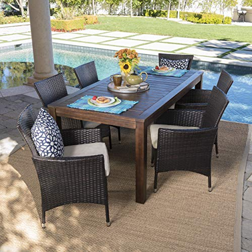 Christopher Knight Home Christine Outdoor Dining Set With Wood Table And Wicker Dining Chairs With Water Resistant Cushions 7 Pcs Set Dark Brown Multibrown Beige 0 0