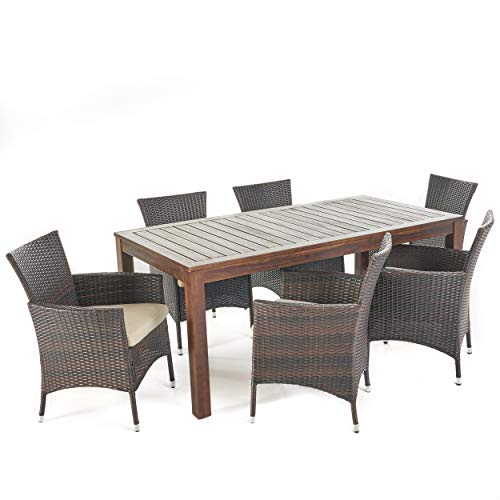 Christopher Knight Home Christine Outdoor Dining Set With Wood Table And Wicker Dining Chairs With Water Resistant Cushions 7 Pcs Set Dark Brown Multibrown Beige 0