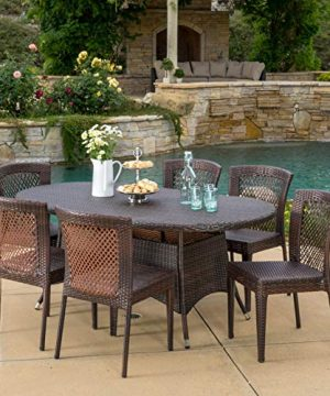 Christopher Knight Home Lennox Outdoor Wicker Round Dining Set 7 Pcs Set Multibrown 0 0 300x360